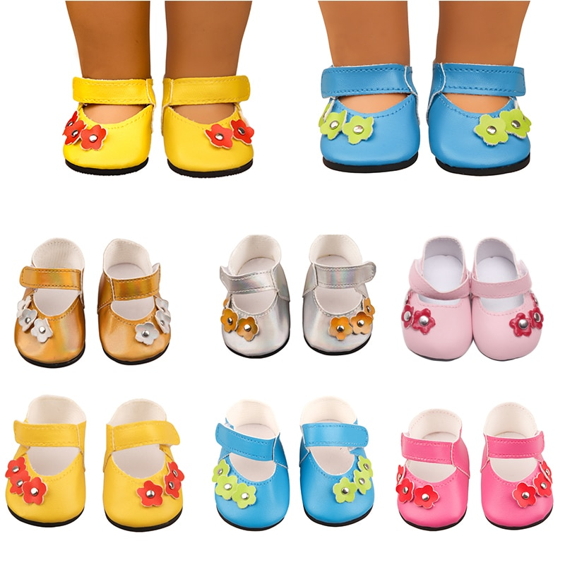 2021 New Fit 17 inch 43cm Baby New Born Doll Shoes Accessories Sunflower Shoes For Baby Birthday Gift недорого