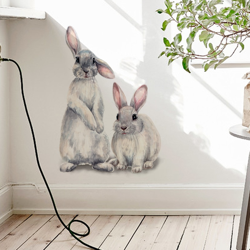 Two cute rabbits Wall sticker Children's kids room home decoration removable wallpaper living room b