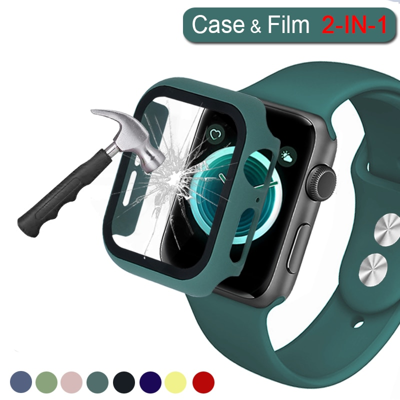 case for apple watch se 6 5 4 3 2 1 38mm 40mm watch cover protective case carbon fiber pattern pc case for iwatch 6 se 42mm 44mm 360 Full PC Bumper with Glass Watch case for Apple watch 6/SE/5/4/3 matte hard Cover for iwatch Series 6 SE 40MM 44MM 38MM 42MM