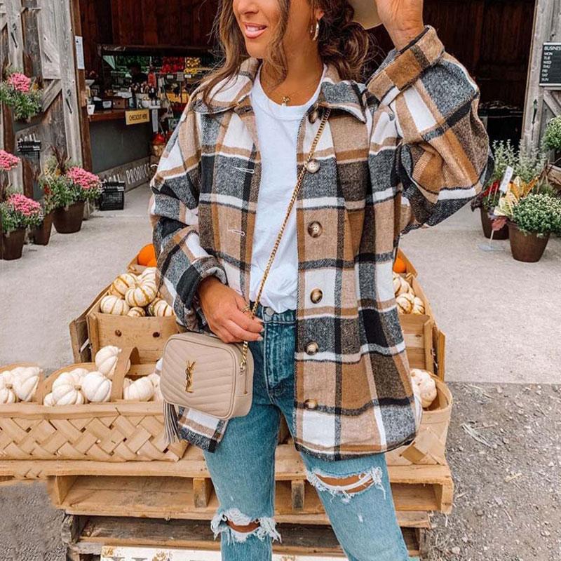 سترة خريفي 2021 منقوشة للنساء سترة طويلة متقلب معطف نسائي شتوي كم طويل سترة قميص للنساء