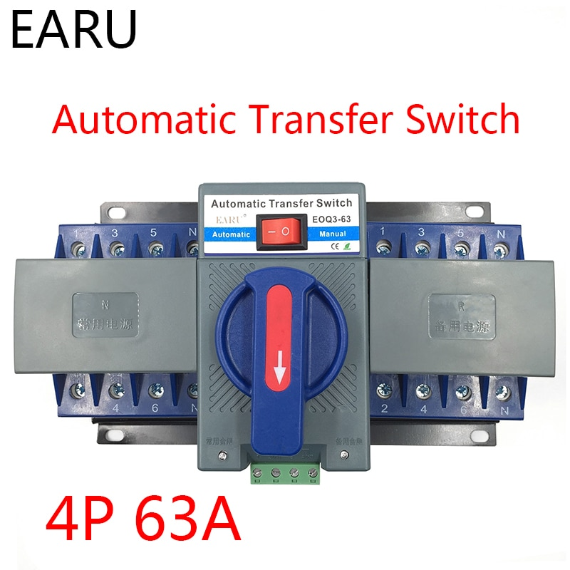 4P 63A 380V MCB نوع مزدوج الطاقة التلقائي نقل التبديل ATS ATES للمولد الكهروضوئية نظام البطارية CE معتمد