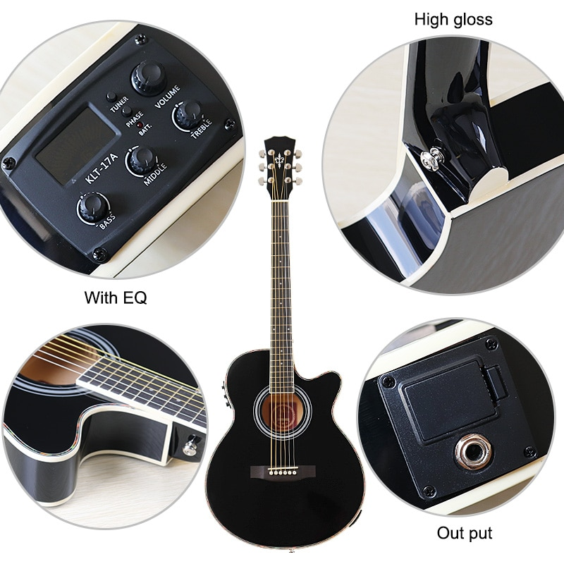 Thin body guitar acoustic electric guitar 6 string 40 inch acoustic guitar full basswood black folk guitar with EQ enlarge