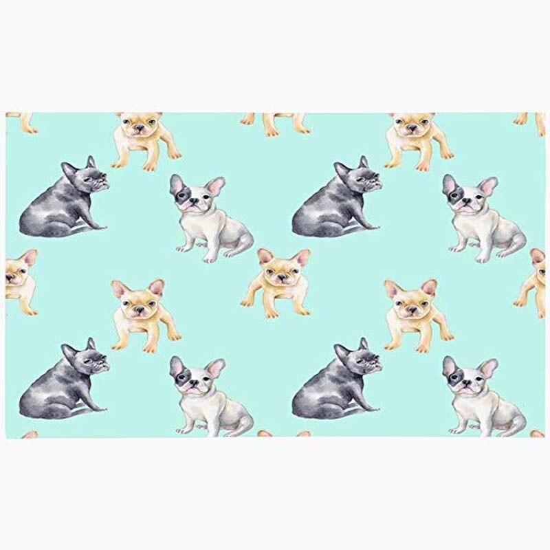 Alfombra de puerta azul cachorro patrón de acuarela Bulldog francés animales de mascotas animales de vida salvaje perro verde pintura Popular hermosa máquina lavable