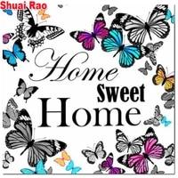 Peinture diamant theme papillon  maison douce  texte  strass  broderie complete 5d  perceuse ronde ou carree  autocollants muraux