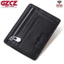 GZCZ 100% porte-carte de crédit en cuir véritable voyage hommes homme portefeuille mince affaires fermeture éclair mince porte-monnaie pour les garçons