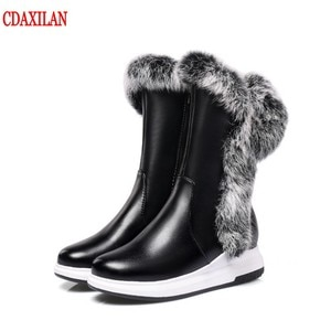 CDAXILAN new to women's boots Pu leather rabbit hair boots warm legs snow boots Mid-Calf boots ladies winter plush boots