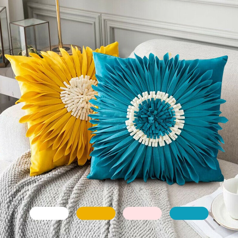 Chic 3D Chrysanthemum Throw Pillow Velvet Stitching Pillowcase Home Decor Cushion Covers Sofa Car Waist Pillow Case