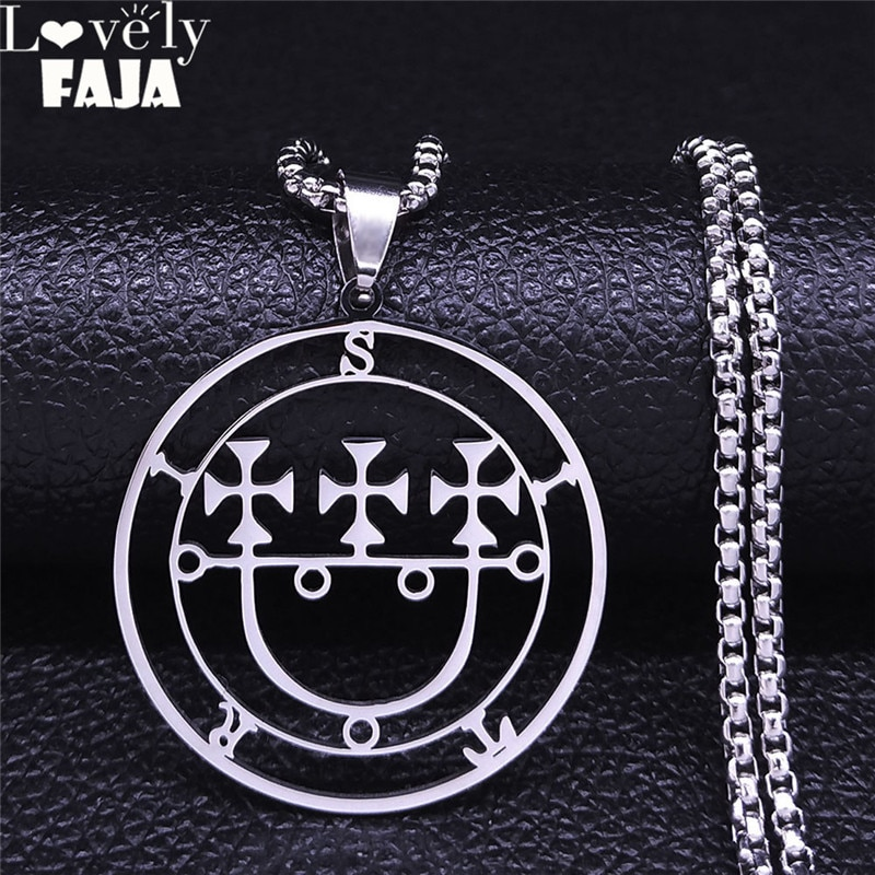 Sigil de lucifer sitri satan sitri sitri bitru lazer chave baphomet selo colar jóias colar mujer n4434s03