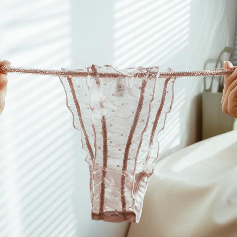 Ropa interior Sexy SP & CITY para mujer, bragas de encaje con agujeros, ropa interior transparente con lazo, Tanga sin costuras, lencería de punto ondulado
