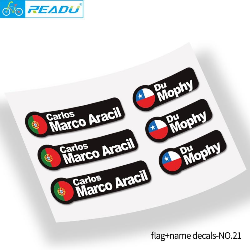 Pegatinas de nombre de bandera para bicicleta de montaña para bicicleta, hechas a medida, marco de coche de equilibrio para niños, pegatinas de nombre, estilo 21