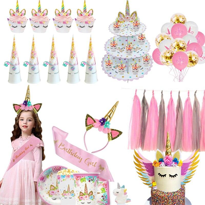 Suministros para fiestas de unicornios, vajilla desechable, platos de papel para Baby Shower, cajas de pastel de Unicornio, decoración para fiestas de cumpleaños