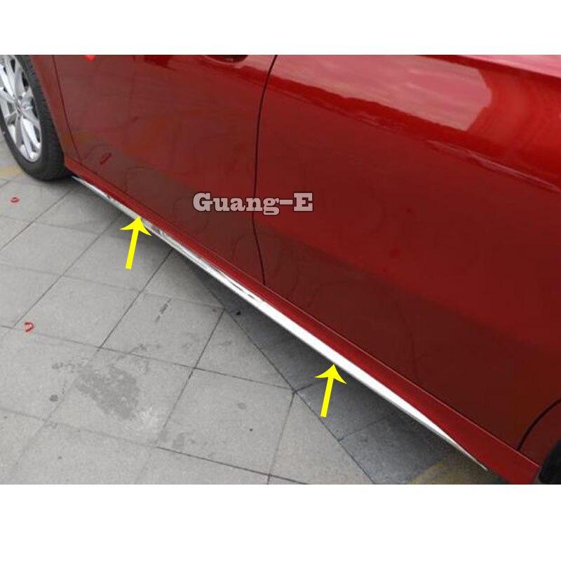 Para un Mercedes Benz Clase A. W177 A180 A200 A250 2019 2020 cubierta del coche de protección lado cuerpo puerta palo tira moldeo de parachoques 4 piezas