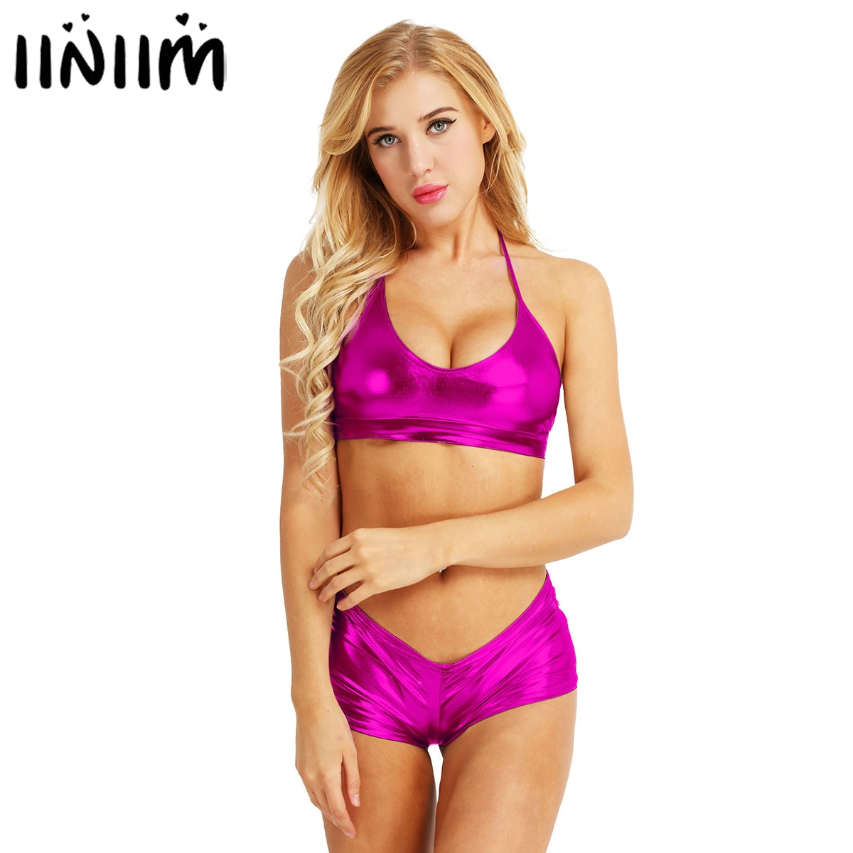 Iiniim 2PCS Frauen Wet Look Sexy Clubwear Faux Leder Dessous Set Bh Top mit Mini Boxer Briefs Unterwäsche Bikini tanz Kostüm