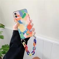 iphone case doodle iphone 12 case 8plus apple 11 silicone case xs soft case xsmaxxr bracelet case applicable iridescence