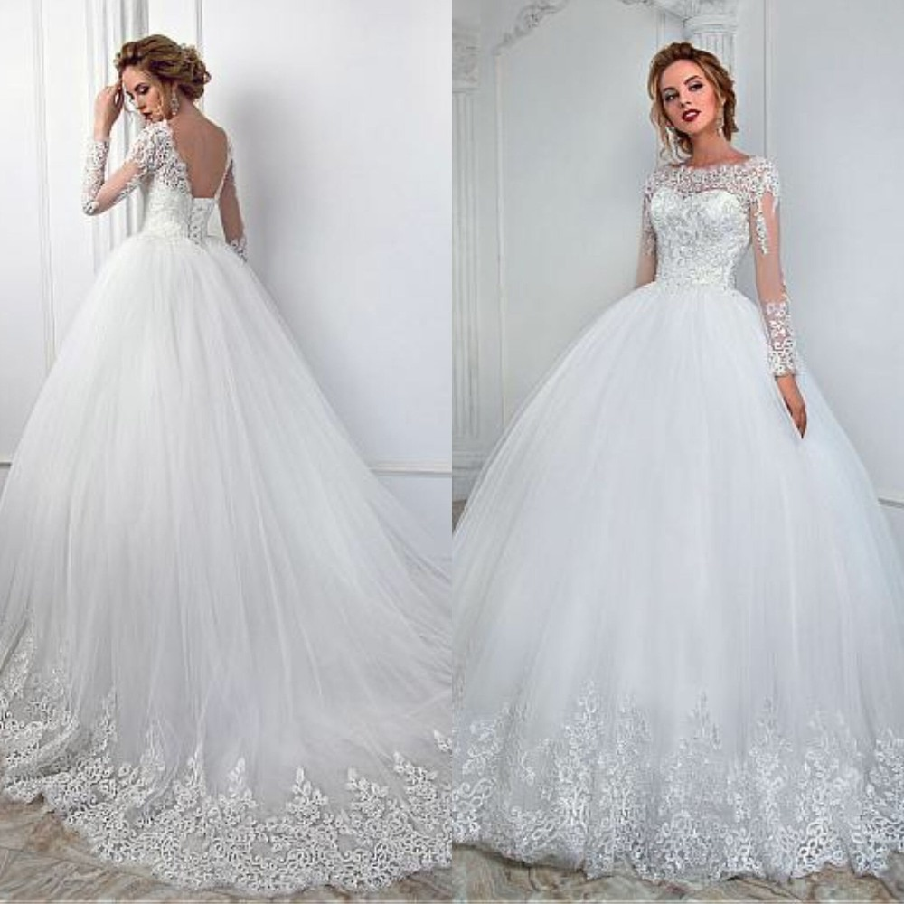 Elegant White Lace Long Sleeve Wedding Dress Ball Gown See Through Design Appliques Princess Bridal 2019 up Back