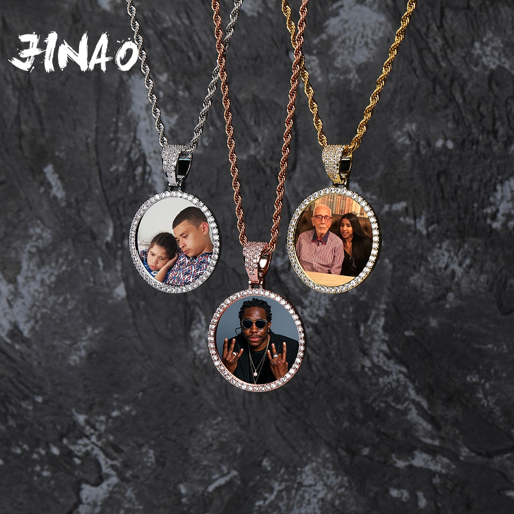 New Custom Photo Memory Medallions Solid Pendant Necklace With Tennis Chain Hip Hop Jewelry Personalized Cubic Zircon ChainsGift 925 sterling silver custom pendant necklace diy photo engraving necklace custom personalized gifts drop shipping ylq0845