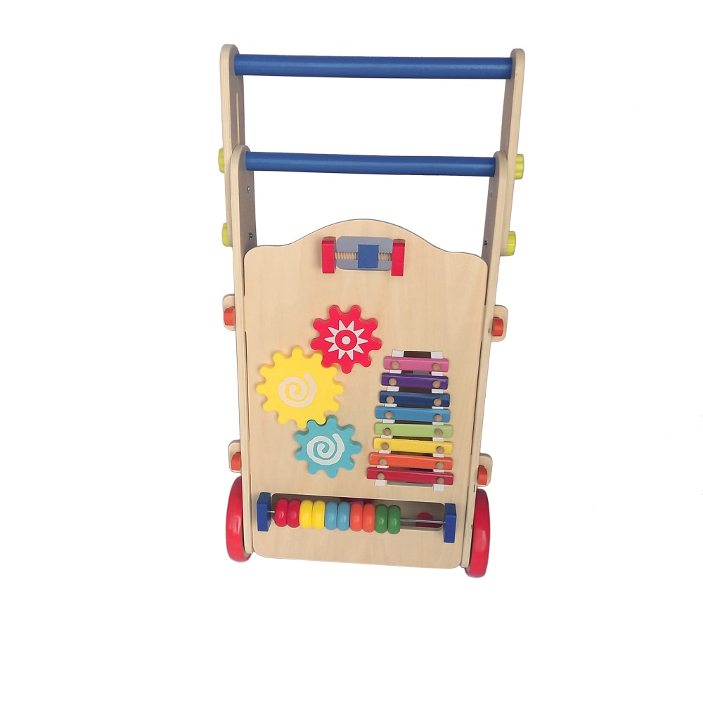 Kids Learning Walk Activity Car Wooden Adjustable Baby Walker Toddler Toy With Multiple Activity Toys Math Musical Game Gift
