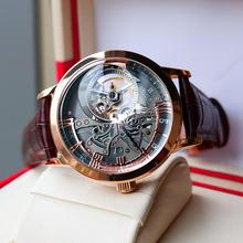 OBLVLO Casual Watches Mens Skeleton Dial Calfskin Leather Band Rose Gold Watches Automatic Watches f