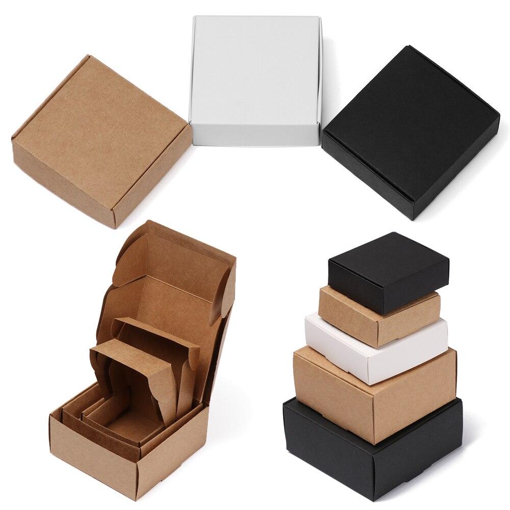 10 teile/los 9 größen Kleine Kraft Papier Box Braun Karton Handgemachte Seife Box Weiß Handwerk Papier Geschenk Box Schwarz Verpackung schmuck Box