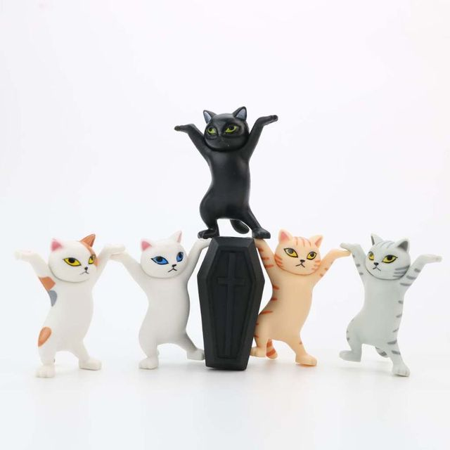 Cat pen holder black cat without coffin bracket Kids Funny Cat Pen Holder Kids Adult Doll Toy Gift Weightlifting Cat Pen holders 10