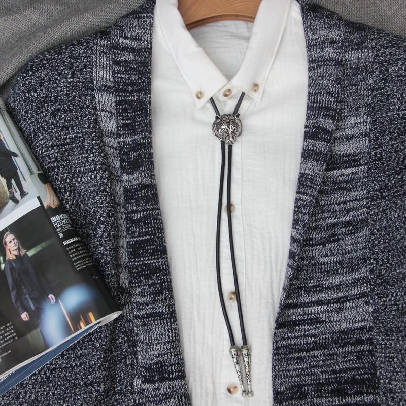 Original design bolotie Stainless steel tiger head shape pendant bolo tie for men personality neck tie accessory