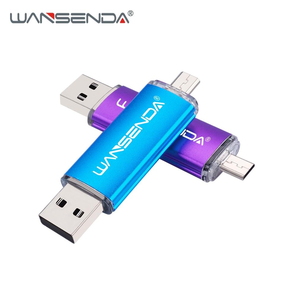 WANSENDA OTG USB Flash Drive High Speed Pen Drive 128GB 64GB U Disk 16GB 32GB 256GB Pendrive 2 in 1 Micro USB Memory Stick