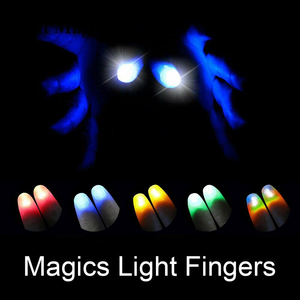 1 par creativo mágico juguetes luminosos que brillan las puntas de los pulgares con LED rojo mágico pulgar luz ilusión suave dedo mágico Juguetes