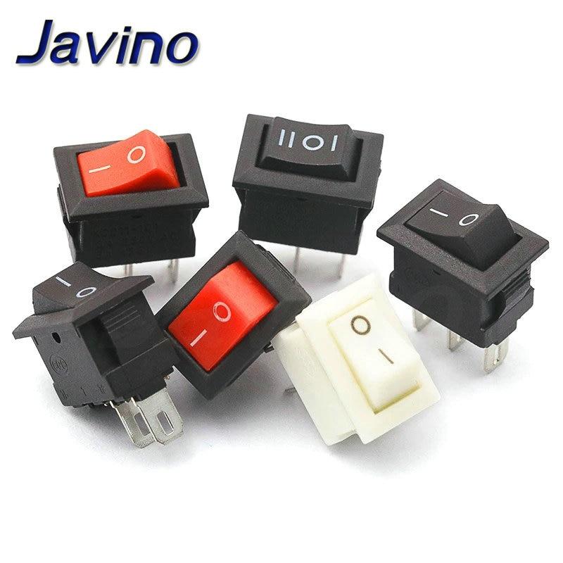 10pcs Mini Rocker Switch SPST Black and Red Snap in Switches Button AC 250V 3A / 125V 6A 2/3Pin I/O 10*15mm On-off Switch Rocker