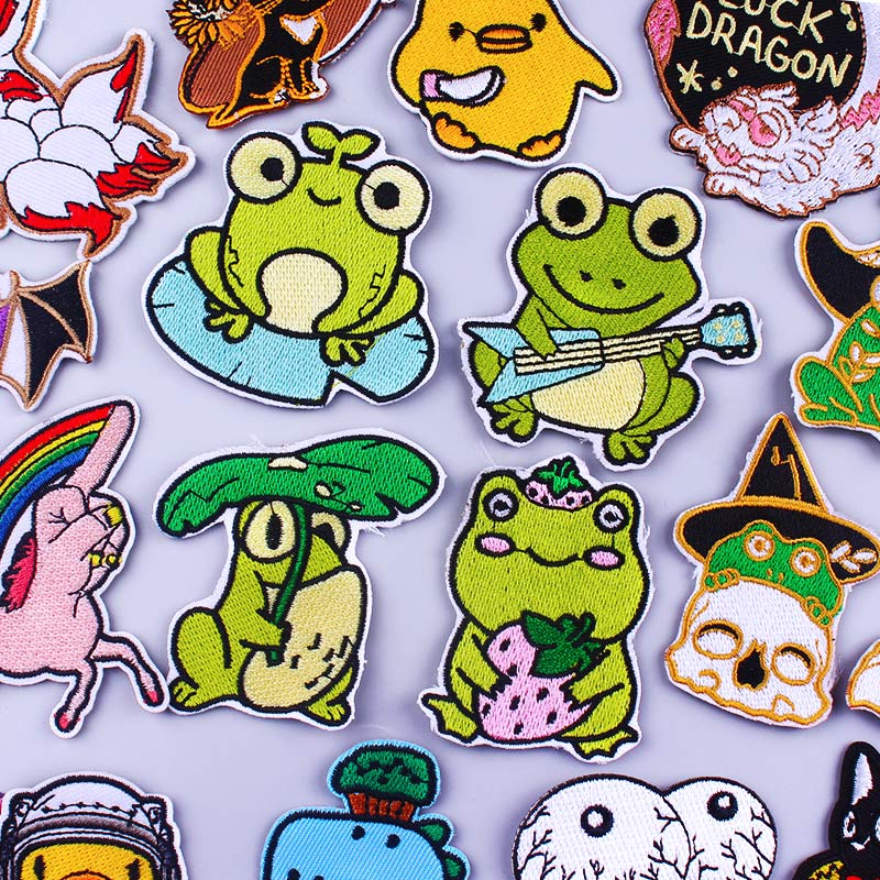 Prajna Frog Set Parches Cartoon Embroidery Patches for Clothes Iron On For Clothing DIY Stripes Cute Badge Stickers