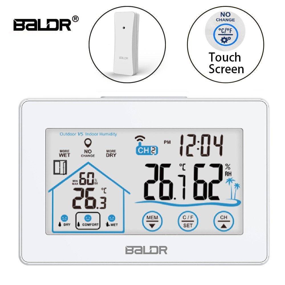 combo bluetooth wireless magnetic monitor smart sensor data logger temperature humidity controller thermostat weather station Baldr Wireless Digital Weather Station Touch Thermometer Sensor Temperature Humidity Meter Hygrometer Wall Clock