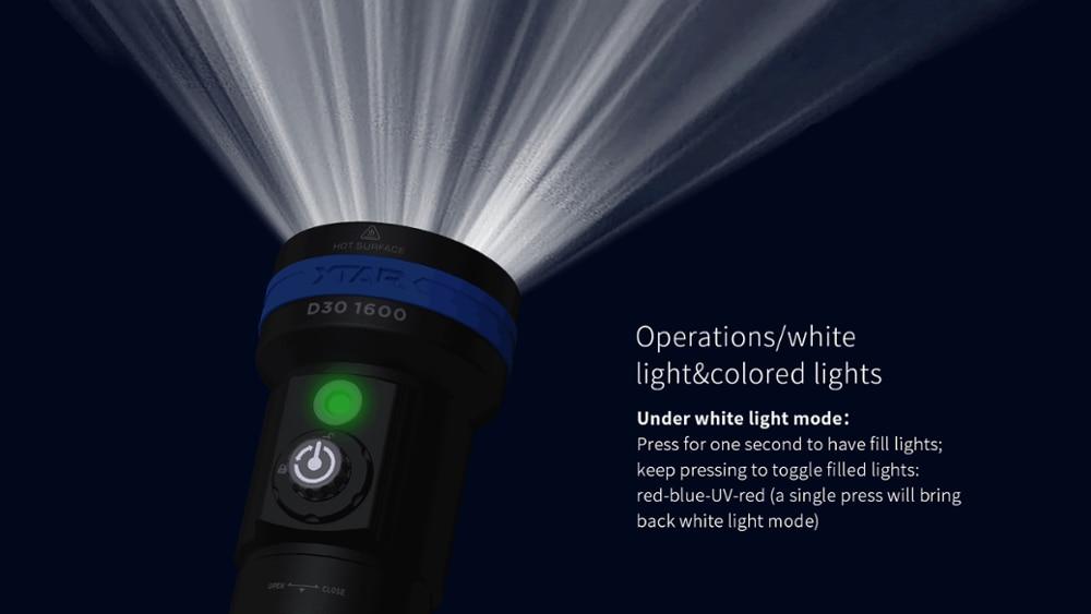 Original XTAR D30 1600 Diving Flashlight CREE XHP35LED 1600lumen UV/RED/BLUE light underwater 100 Meters diving torch enlarge