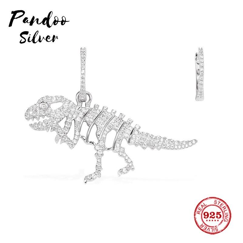 Amuleto de moda de plata de ley réplica Original 11, pendientes de hueso de Rexy de plata asimétrica de dinosaurio regalo de joyería de lujo para mujer