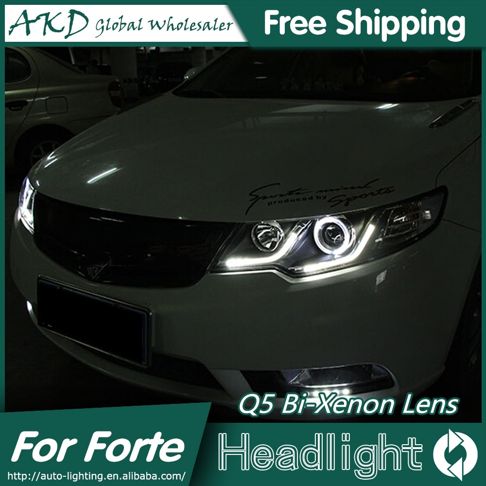 AKD-lentille de xénon pour Kia   Style de voiture pour phares Forte 2010-2014 Cerato DRL Bi, Parking à faisceau haut et bas