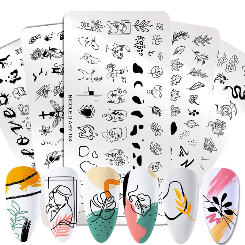 NICOLE DIARY People Image Line Pictures Nail Stamping Plates Marble Image Stamp Templates Geometric  Printing Stencil Tools недорого