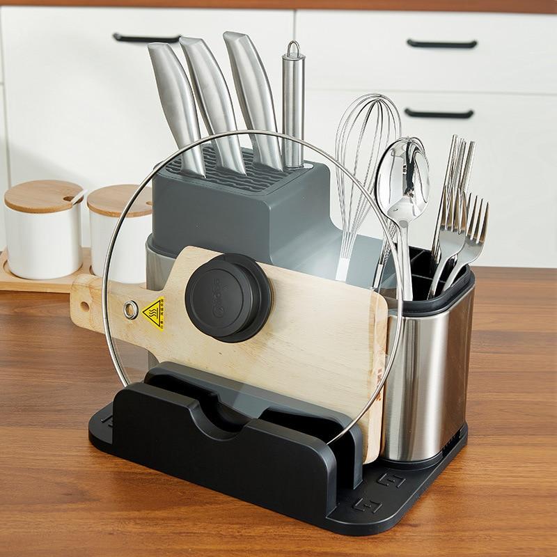 المطبخ سكين رفوف سطح المكتب غطاء وعاء قطع المجلس تخزين الرف الفولاذ المقاوم للصدأ حامل سكاكين Chopstick قفص