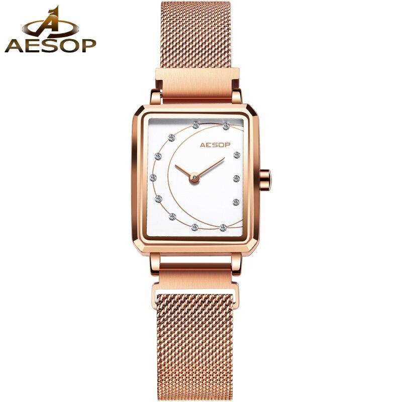 Marca de Luxo Relógio para Mulheres à Prova Relógio Feminino Aesop Mulher Relógios Topo Pulseira Dwaterproof Água Rosa Ouro Quartzo Pulso 2021
