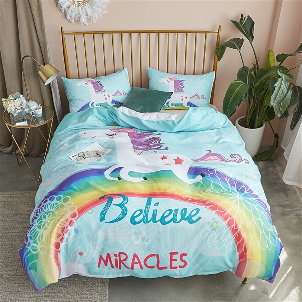 Children Bedding Sets Gifts Unicorn and Colorful Horse Printing Duvet Cover Sets for Kids Girls Boys 3pcs 140x200cm Quilt Cover