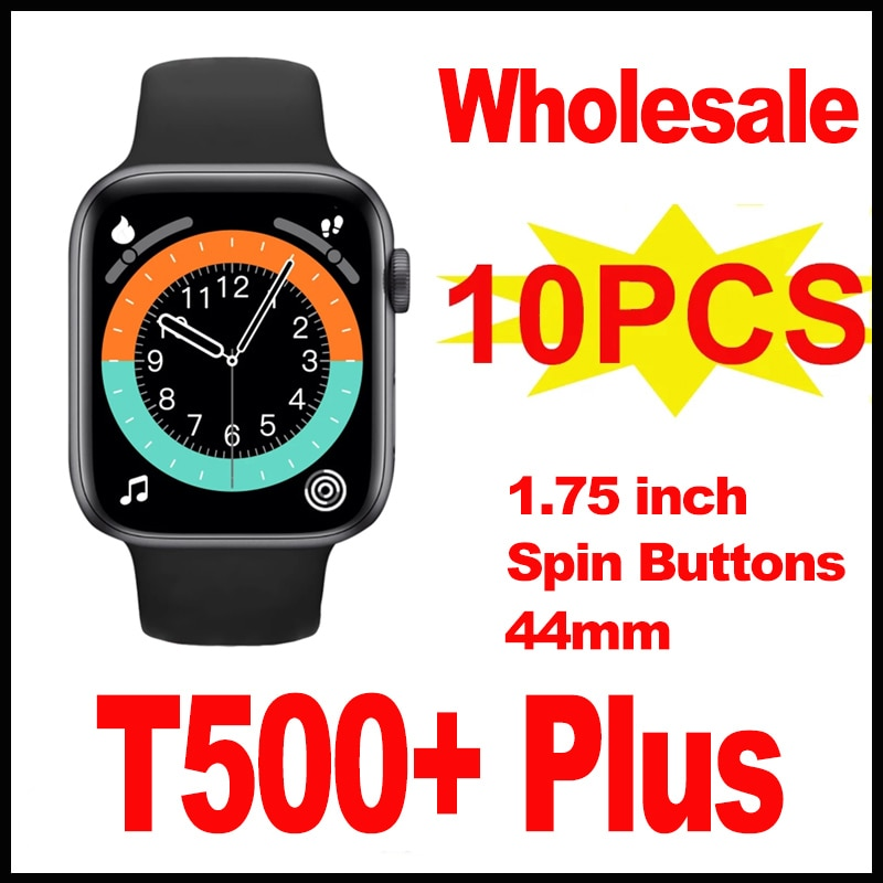 Promo 10Pcs Wholesale T500 Plus Smartwatch With Spin Button 1.75 Inch HD Screen 44mm Fitness Smart Watch Men Wamen For Androis IOS