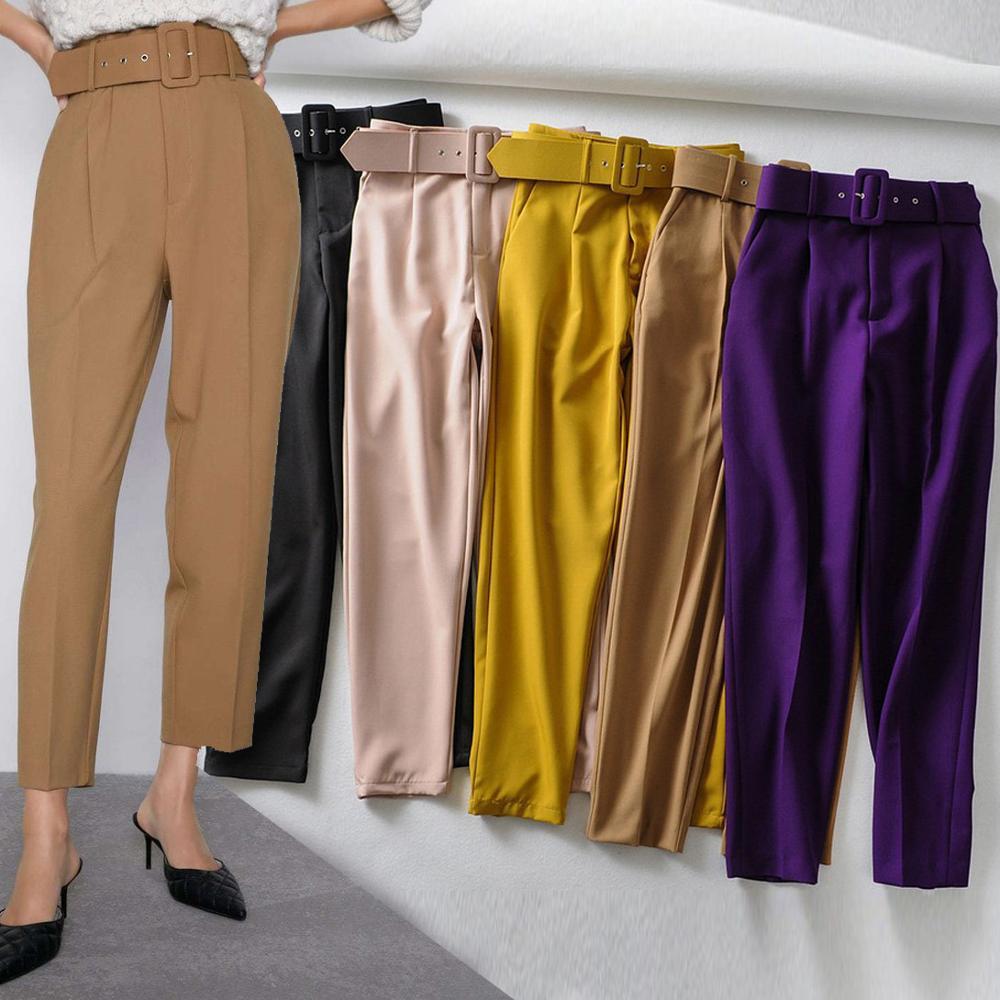 Новинка 2020, костюм, брюки для женщин, бизнес стиль, формальные, высокая талия, брюки с поясом, карманы, для офиса, для девушек, для работы, брюк...