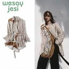 Summer Women Blouse England Style Print Design Fashion sashes full Sleeve Lady Shirt women Tops