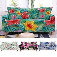 elastic tropical flower slipcovers sofa cover plants for living room sectional l shape sofa couch cover 23 seater