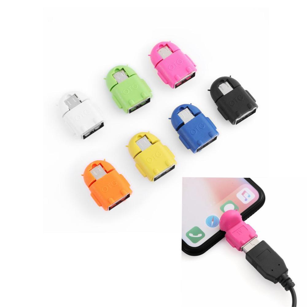 Micro USB a USB 2,0 Mini Robot OTG convertidor adaptador para Android Teléfono tableta Mouse USB Flash unidades teléfono móvil accesorios
