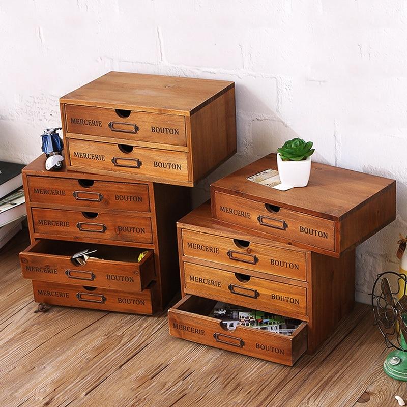 Cajón de almacenamiento de madera Retro, caja de almacenamiento de escritorio de oficina, caja de acabado de artículos diversos, tipo cajonera, organizador cosmético de la joyería