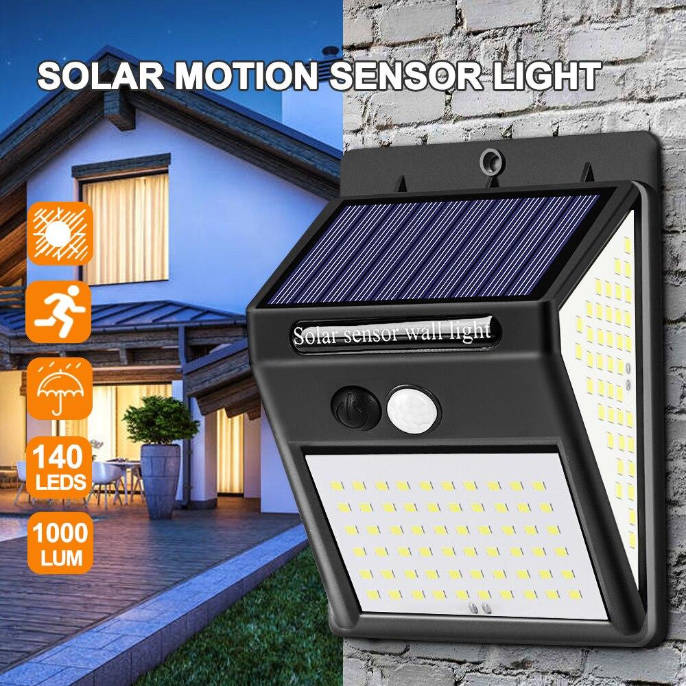 140 LED Solar Licht Outdoor Solar Lampe PIR Motion Sensor Solar Powered Sonnenlicht Straße Licht für Garten Dekoration
