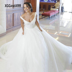 New Arrival Heavy Beading Ball Gown Wedding Dress 2021 V Neck Backless Bow Bridal Gown Royal Train Long White Bride Dresses Gala