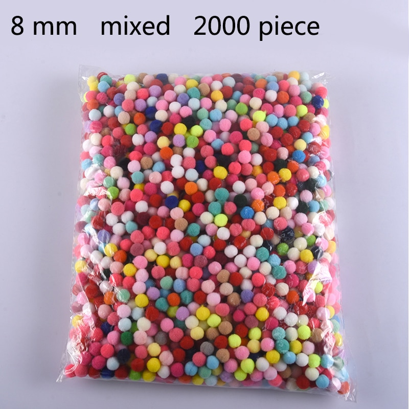 Wholesale 2000Pcs 8mm Pompoms Soft Pom Poms Fur Ball Arts Toys Crafts DIY Apparel Sewing Fabric Supplies Wedding Home Decoration
