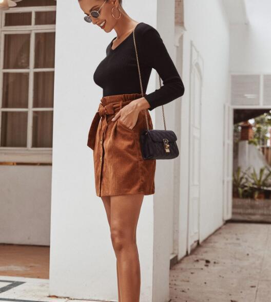 Женская короткая вельветовая юбка на пуговицах спереди с высокой талией-OPK браслет цепь opk 856 ph856