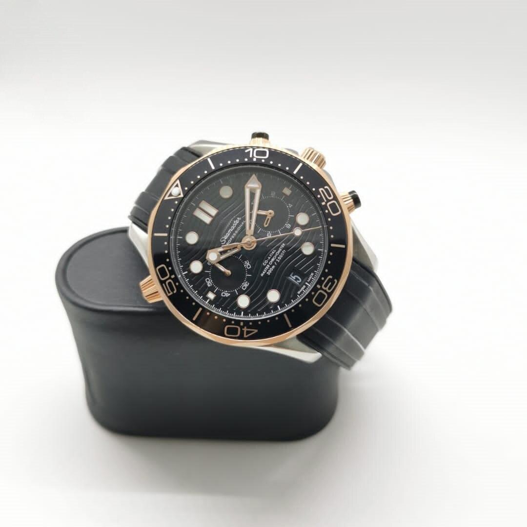 ساعة رجالي فاخرة لون ذهبي وردي ستانلس ستيل ياقوت كريستال حركة ميكانيكية أوتوماتيكية أسود ساعة بحزام مطّاطي قفل قابل للطي