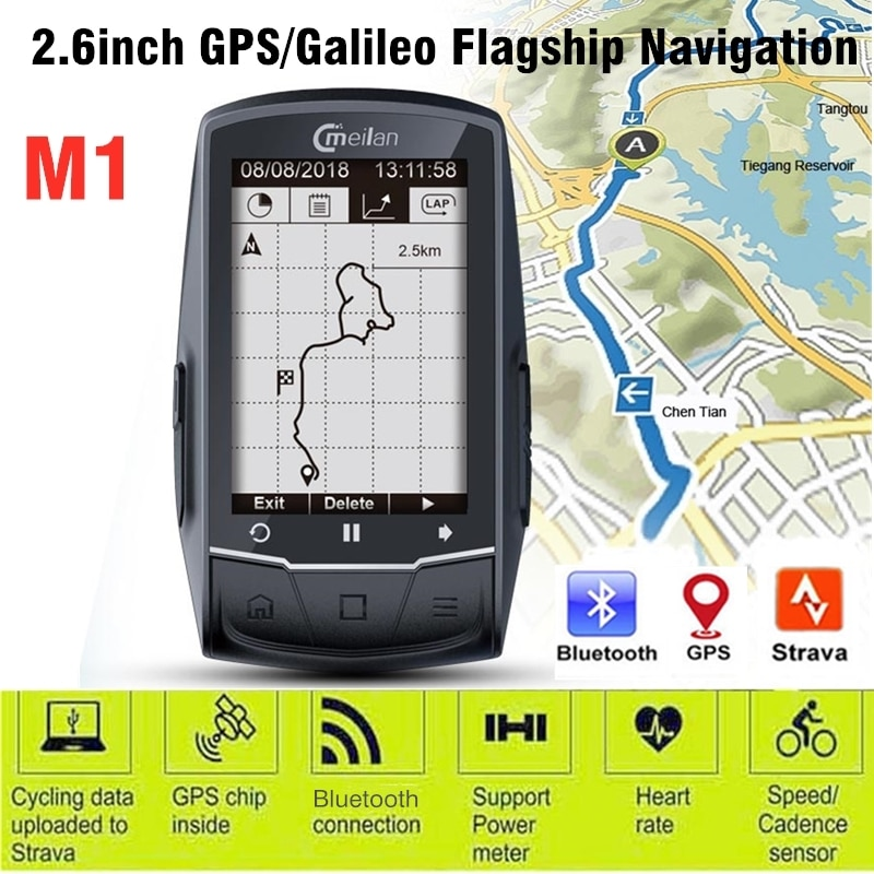 Meilan 2.6 inch M1 GPS Wireless Navigation Bike Computer MTB Cycling Speedometer Bluetooth 4.0 Bicycle Odometer Cycle Computer