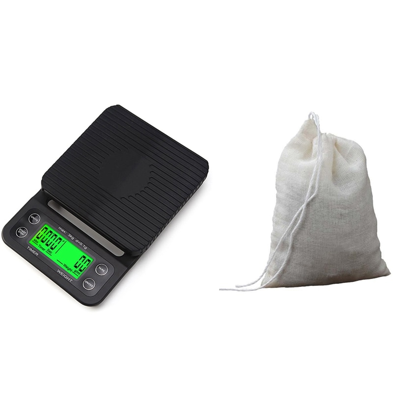 مقياس القهوة مع الموقت و Coton مرشح شبكي حقيبة الشاي الحليب النبيذ القهوة مصفاة قابلة لإعادة الاستخدام